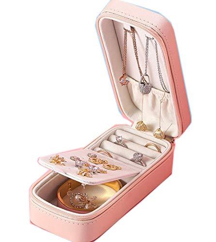 Caja de joyería de cuero de la PU Organizador de almacenamiento portátil pendiente titular cremallera mujeres joyería