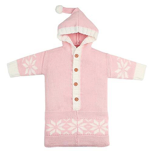 KUKICAT Sac De Couchage Tricot Drap De Laine Couvertures Envelopper Le Bébé Chaud Flocon De Neige Couleur Pure (Rose)