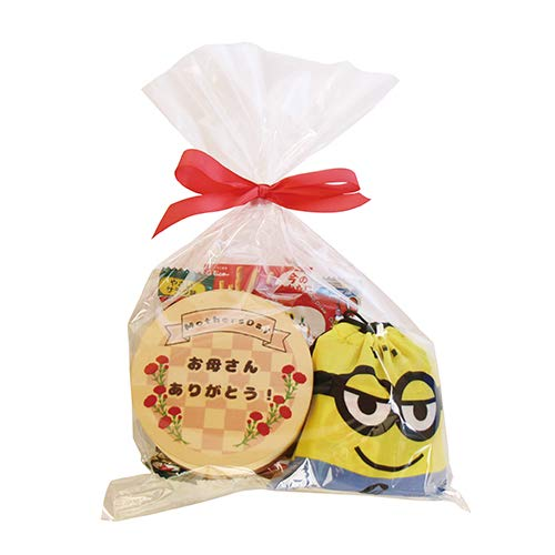 お母さんありがとう!グリコも入った駄菓子いっぱいミニオンズ巾着入り感謝ラッピングセット(21種・計27コ)
