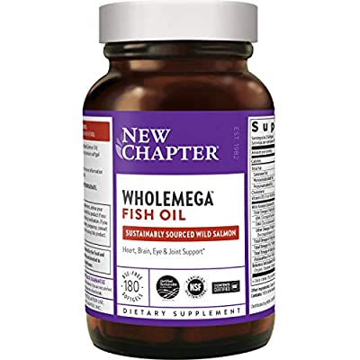 New Chapter Wholemega Fish Oil Supplement - Wild Alaskan Salmon Oil with Omega-3 + Vitamin D3 + Astaxanthin + Sustainably Caught - 180 Count (Packaging May Vary)