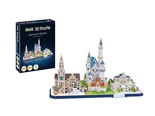 Revell 3D Puzzle 00143 Bayerns berühmteste Bauwerke mit dem Neuen Rathaus, Linderhof und auch Schloss Neuschwanstein Die Welt in 3D entdecken, Bastelspass für Jung und Alt, farbig