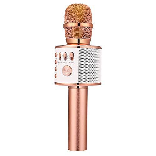 QCHEA Bluetooth El micrófono de Karaoke, 3 en 1 inalámbrica Kids Karaoke Mic Jugador, Niño de cumpleaños del Regalo del Partido del hogar KTV del Karaoke Altavoz del Aparato, Compatible con Android y