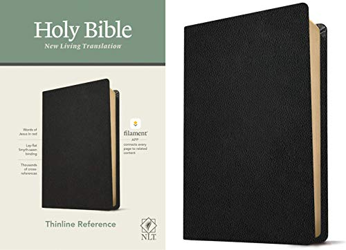 NLT Thinline Reference Holy Bible (Red Letter, Genuine Leather, Black): Includes Free Access to the Filament Bible App Delivering Study Notes, Devotionals, Worship Music, and Video
