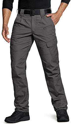 CQR Men's Tactical Pants, Water Repellent Ripstop Cargo Pants, Lightweight EDC Hiking Work Pants, Outdoor Apparel, Duratex(tlp108) - Charcoal, 34W x 32L