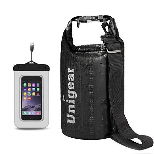 Unigear Sacs Imperméables/Sacs Etanches/Dry Bag (2L/5L/10L/20L/30L/40L) pour Activités de Plein Air et Sports Aquatiques Camping Nautique Kayak Pêche avec Une Pochette étanche de Téléphone