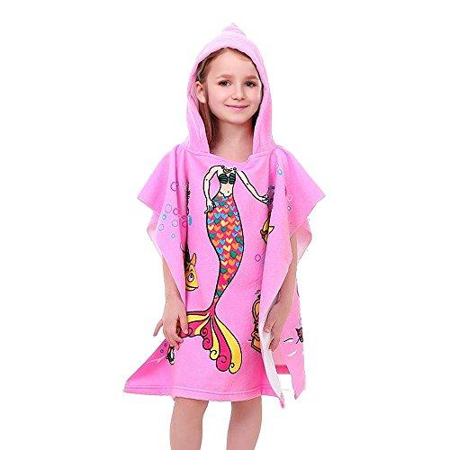 Vston Handtuch für Kinder, aus Baumwolle, mit Kapuze, für Bad, Schwimmen, Strand, Urlaub, weich, leicht, für Jungen und Mädchen., Pink