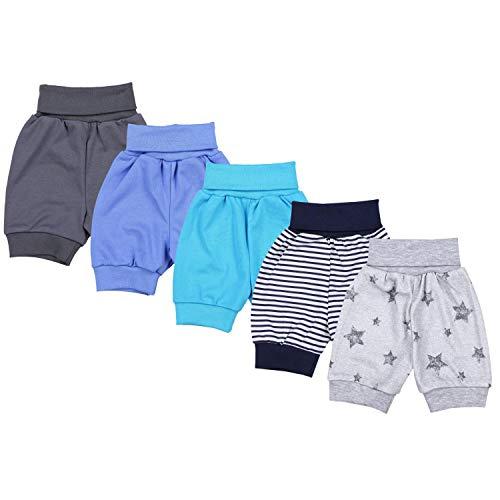 TupTam Unisex Baby Pumphose Sommershorts Baumwolle 5er Pack, Farbe: Junge 3, Größe: 74/80