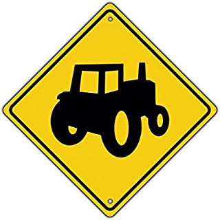 Tractor Symbol Farm Machinery Crossing Traffic Xing Metal Aluminum Novelty Sign
