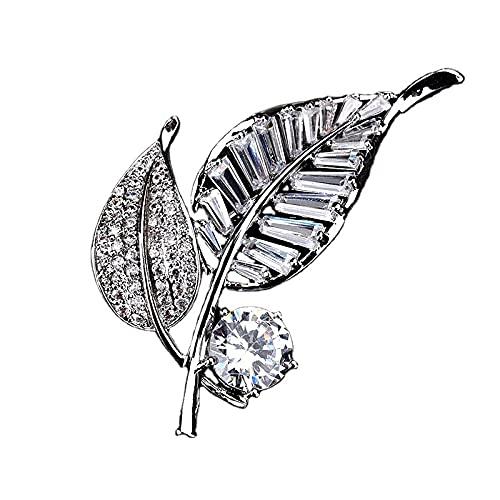 Silberblatt Brosche Pin für Frauen Pflanze Brosche Pins Schmuck Kleidung Schal Schnalle Kleidungsstück Accessoires Feiner Schmuck
