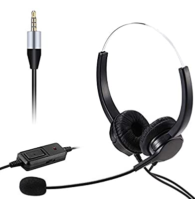 Mobile Phone Headset with Microphone Noise Cancelling & Call Controls, 3.5mm Computer Headphone for iPhone PC Laptop Skype Softphone Business Call Center Office, Clear Chat, Ultra Comfort by REUUY