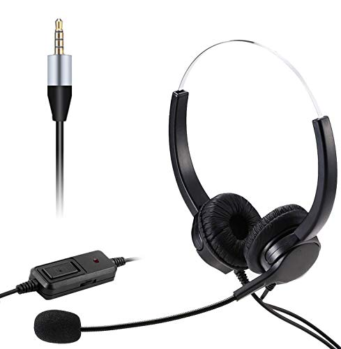 Handy-Headset mit Mikrofon, Geräuschunterdrückung und Anrufsteuerung, 3,5 mm PC-Kopfhörer für iPhone, Samsung, Computer, Business, Skype, Softphone, Call-Center Büro …