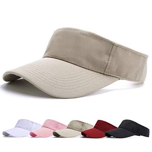 BLURBE Unisex Visera- Visor Gorras, 1/2 Gorra Deportiva Protección UV Viseras Sombreros para el Sol de Deportes al Aire Libre Golf Tenis Correr para Correr (Caqui)