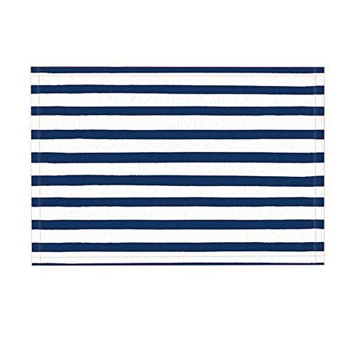 Nyngei Decoración de Rayas náuticas Alfombras de baño Alfombrilla Antideslizante Alfombras de Piso Alfombra de Puerta de Entrada para niños Alfombra de baño 60X40CM Accesorios de baño Azul Marino