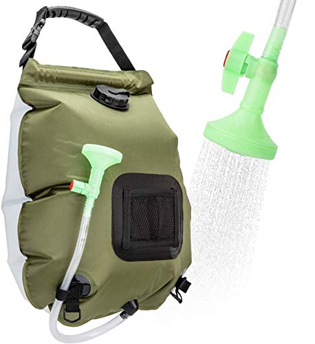 FeChiX Portable Shower Bag Camping Shower 5 Gallons/20L Solar Heating Bag with Removable Hose and On-Off Switchable Shower Head for Outdoor Traveling Hiking Camp Shower