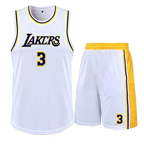 DECORATZ Lakers Anthony Davis # 3 Kinderjugendwesten-Shorts, 2-teiliges Set, Mesh-Stickerei, Team-Logo und schnelltrocknendes Männertrikot mit Spielernummer-White-2XS