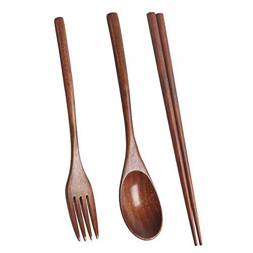 SODIAL Holz Besteck Set Tragbare Umweltfreundliche Wiederverwendbare Besteck Utensilien Set L?Ffel Gabel Essst?Bchen für Camping BüRo Lunch