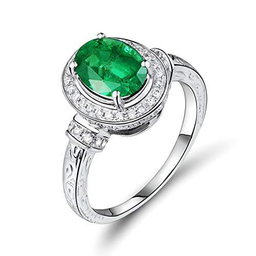 Beydodo Anillos Mujer,Anillo de Mujer de Oro Blanco 18 K Plata Verde Oval con 4 Garras Esmeralda Verde 1.8ct Diamante 0.34ct Talla 13,5(Circuferencia 53MM)