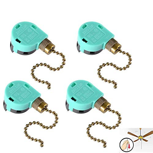 4 Pack 3 Speed Ceiling Fan Switch Zing Ear ZE-268S6, Pull Chain Cord Switch,Use for Ceiling Fans, Appliances, Wall Lamps, Cabinet Light, Replacement Speed Control (4 Pack, blue)