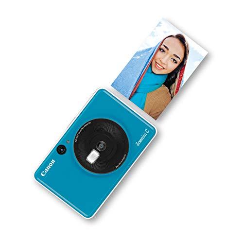 Canon Zoemini mobiele mini-fotoprinter (accu, 5 x 7,5 cm foto's, zink-drukvrij, voor mobiele telefoons iOS en Android via Bluetooth, 160 g), 5 MP Instant camera, blauw