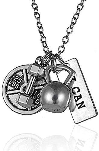 LBBYMX Co.,ltd Collar de Moda Vintage Antiguo Plata Collar con Mancuernas Barbell Gym Gym Fitness Peso Collares Pendientes para Hombres Mujeres Rock Jewelry kolye