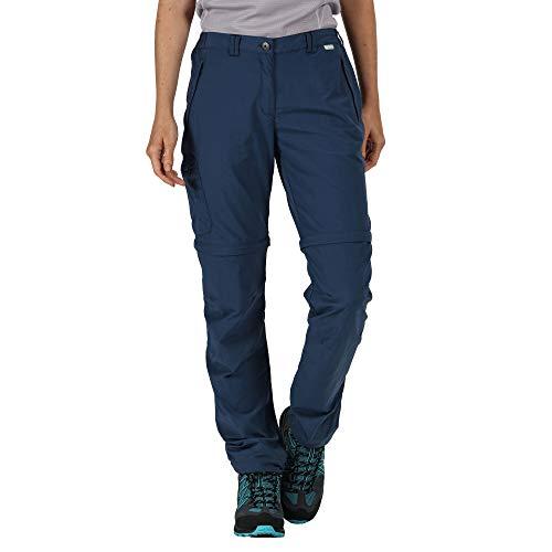 Regatta Pantalon Technique Chaska II léger et déperlant avec Jambes dézipables, propriété de séchage Rapide et Multiples Poches Trousers Femme, Dark Denim, FR : XL (Taille Fabricant : 18)