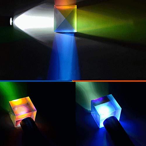 Würfel Prisma Brille, Mehrfarbiger Optisches Glas Würfel Prisma, 6 Seiten Mehrfarbiger Würfel, Fotografie Prisma Optisches Glas X-Würfel, Optisches Experiment Instrument Optische Linse