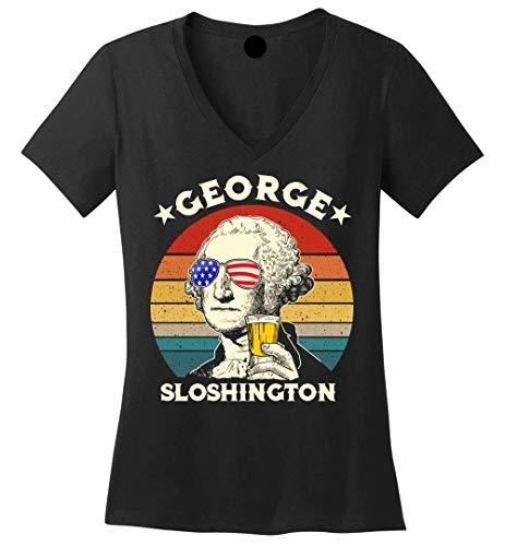 Vintage American USA Flag 4th of July - George Sloshington Washington - V-Neck T-Shirt Black