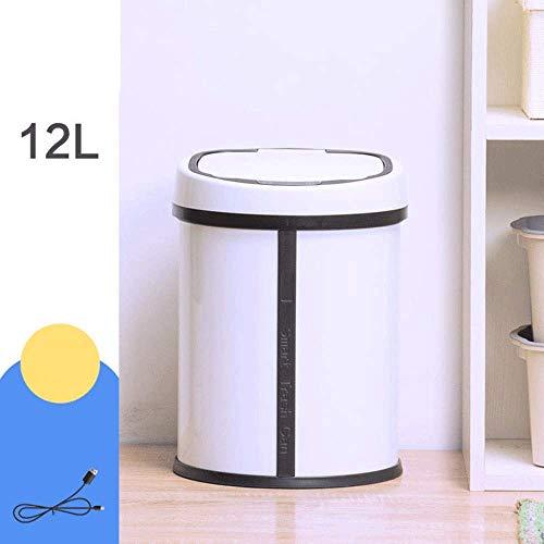 CMmin Miilleimer Automatische Papierkorb 12 Liter, Berühren mit Deckel 40 cm Abtastabstand und 0.3s Infrarot-Sensor Automatische Papierkorb for Wohnzimmer, Küche