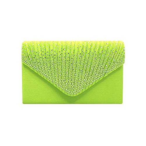 Damen Clutch Ulanda Satin Strass Abendtasche Frauen Handtasche Umhängetaschen Abend Hochzeit Braut Partei Abschlussball Geldbörse Umschlag Schultertasche (Grün)