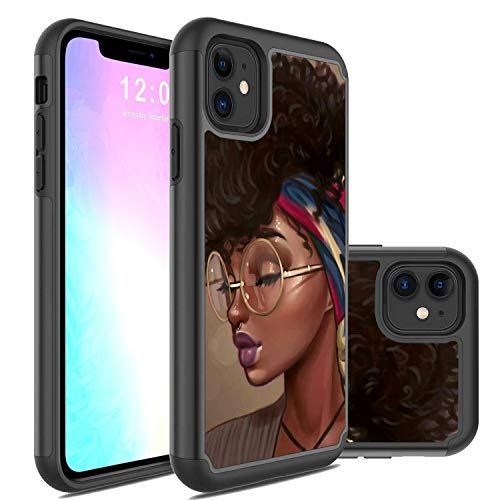 iPhone 11 Case,Rossy 2 in 1 Hybrid Hard PC & Soft Silicone Heavy Duty Dual Layer Shockproof Full-Body Protection Case for Apple iPhone 11 6.1 inch(2019)-African American Girls
