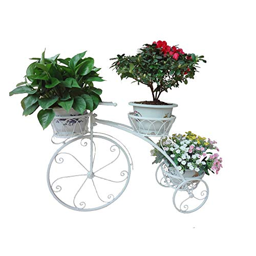 JIASHU Tricycle Plant Stand Flower Pot Holder, Metal Wire/iron Flower Pot Wrought, for Home, Garden, Patio, Backyards - Great Gift for Plant Lovers