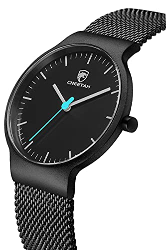 CHEETAH moda uomo orologi ultra sottile maglia in acciaio inossidabile orologio impermeabile orologio da polso al quarzo analogico minimalista unisex (nero blu)