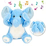 Hopearl Peek A Boo Elephant Interactive Repeats What You Say Plush Elephish Toy Musical Singing Talking Stuffed Animal Adorable Electric Animate Gift, Blue, 11.5''