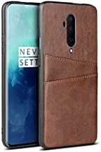 Zhulonglong For OnePlus 7T Pro Leather Wallet Case, Retro Synthetic PU Leather Case Snap-on Phone Cover with 2 Credit Card Holders Multifunctional Wear-resistant Classic (Color : Darkbrown)