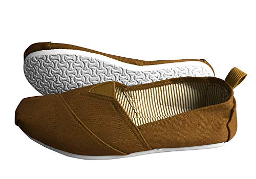 Peach Couture Striped Casual Summer Breathable Tennis Slip On Loafer Sneaker Shoes (5, Brown)