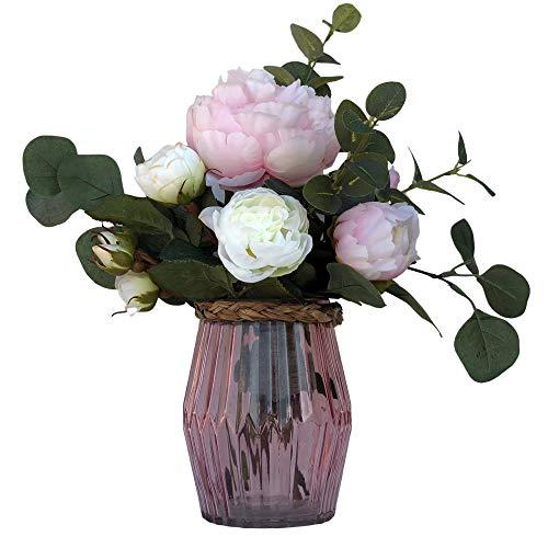 BOTANIC DESSIGN Ramo de Flores Artificiales. Jarrón con peonía en Color Rosa Claro, Junto con Unas Rosas en Color Blanco Puro y Tallos de Diferentes eucaliptos, en Color Verde Mate.