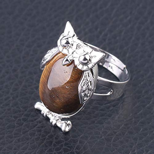 adjustable ring for women,Silver owl animal inlaid oval natural Tiger Eye Reiki stones charm Adjustable Open Knuckle Tail Ring Finger Joint Toe Ring Jewelry for Women Girls Gift Wedding engagement M