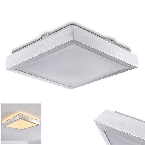 LED Deckenleuchte Wutach, eckige Deckenlampe aus Metall in Alu gebürstet, 1 x 12 Watt, 800 Lumen, Lichtfarbe 3000 Kelvin (warmweiß), IP 44, auch für das Badezimmer geeignet