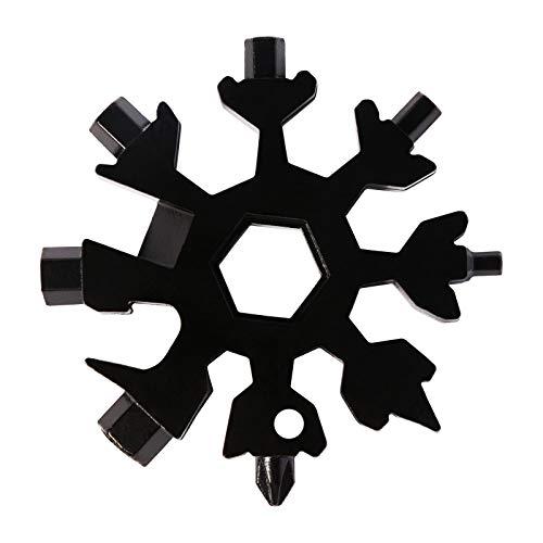 EDATOFLY 18-in-1 Schneeflocke Multi-Tool, Tragbares Edelstahl-Multifunktionswerkzeug Schneeflocke Multitool Karte für Outdoor-Abent (Schwarz)