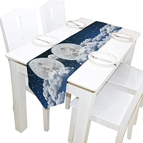 La luna del Cielo,de 13 x 90 Inchs tapete de Mesa Moderna de la Masía de la Decoración,las Vacaciones de Cocina, Mesa de Comedor de Decoración para Interiores al aire libre del Partido de Cena