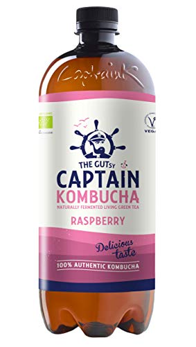 The Gutsy Captain - Kombucha Tea, Certified Organic - Natural Fermented Probiotic Drink California Raspberry - 6 x 1 Litre CK010