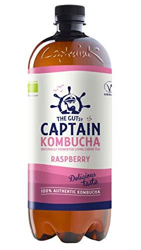 Captain Kombucha – Bebida Probiótica Naturalmente Fermentada, Sin Aditivos ni Conservantes, Sin Colorantes ni Sabores Artificiales, Sin Pasteurizar, Vegan - 6 x 1000ml (Raspberry)