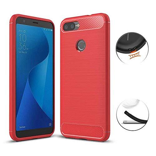 Capa Capinha Anti Impacto Para Asus Zenfone Max Plus Zb570tl Tela 5.7Case Com Desenho Fibra De Carbono - Danet (Vermelho)