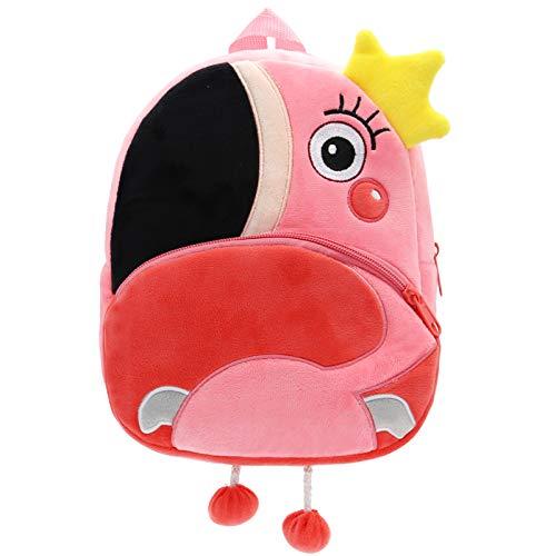 Zaino per animali dei cartoni animati, borsa per bambini carina Borse per scuole per bambini di 2-5 anni, regali per bambini della scuola materna (Rosso-Fenicottero)