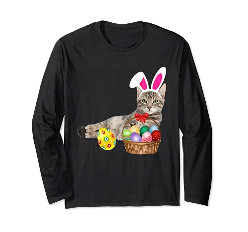 Lindo gato da de pascua conejito huevos disfraz regalo Manga Larga