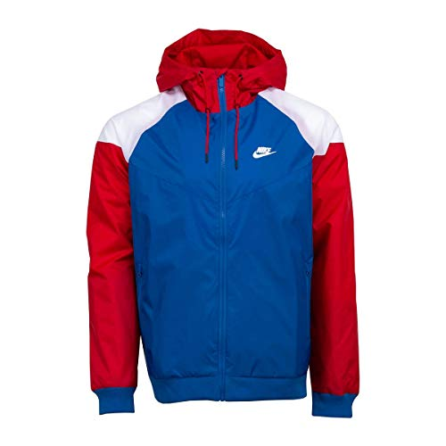Nike Sportswear Windrunner Men's Jacket Team Royal Gym Red White (Large)