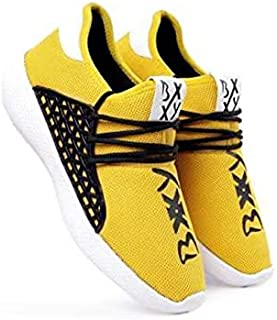 KT Traders Solid Reguler Mesh Lace-Up On Style for Easy Sport Shoes (KT Traders-58-Yellow-9)