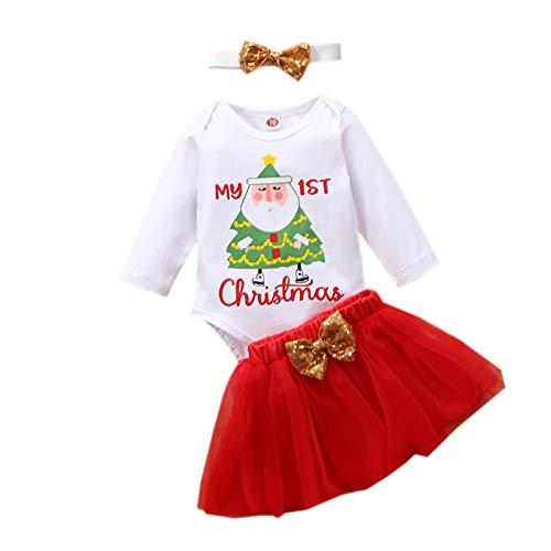 Disfraz Navidad Niños Conjunto de Ropa Bebe Niña Invierno Mono Manga Larga + Falda de Tutú + Diadema Ropa Bebe Niña Recien Nacido Traje Primer Cumpleaños Niñas Pijama Navideño