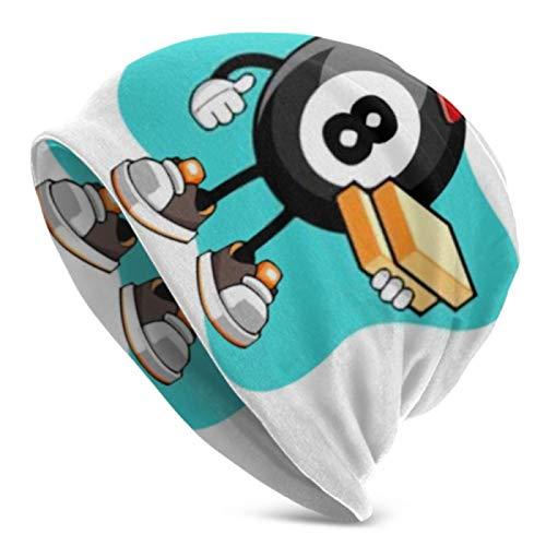 AEMAPE Gorro de punto para hombres y mujeres, diseño de bola de billar número 8 de pizza