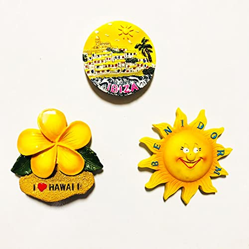 LIANYG Imanes de Nevera Ibiza Benldorm Hawaii Sevilla Sun Flower Imán de Nevera Pegatina World Travel Souvenir